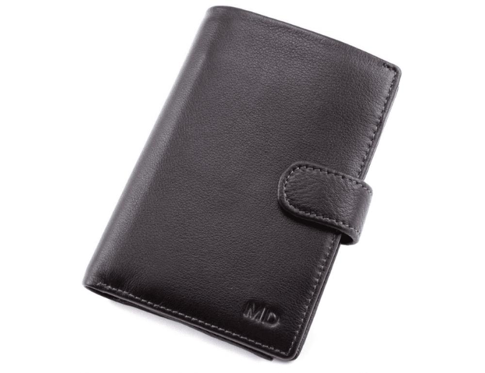Чёрный кожаный портмоне под документы MD Leather 22-302b - Фото № 1