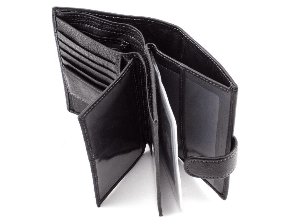 Чёрный кожаный портмоне под документы MD Leather 22-302b - Фото № 3