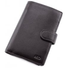 Чёрный кожаный портмоне под документы MD Leather 22-302b