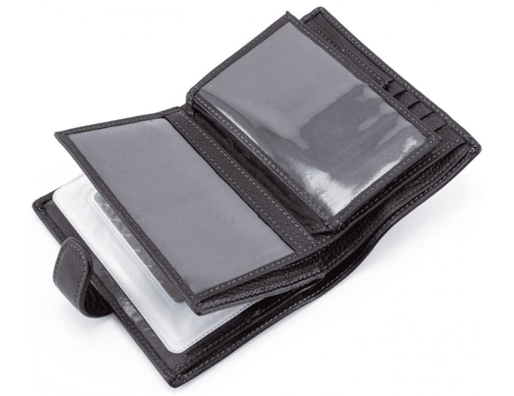 Чёрный кожаный портмоне под документы MD Leather 22-302b - Фото № 5