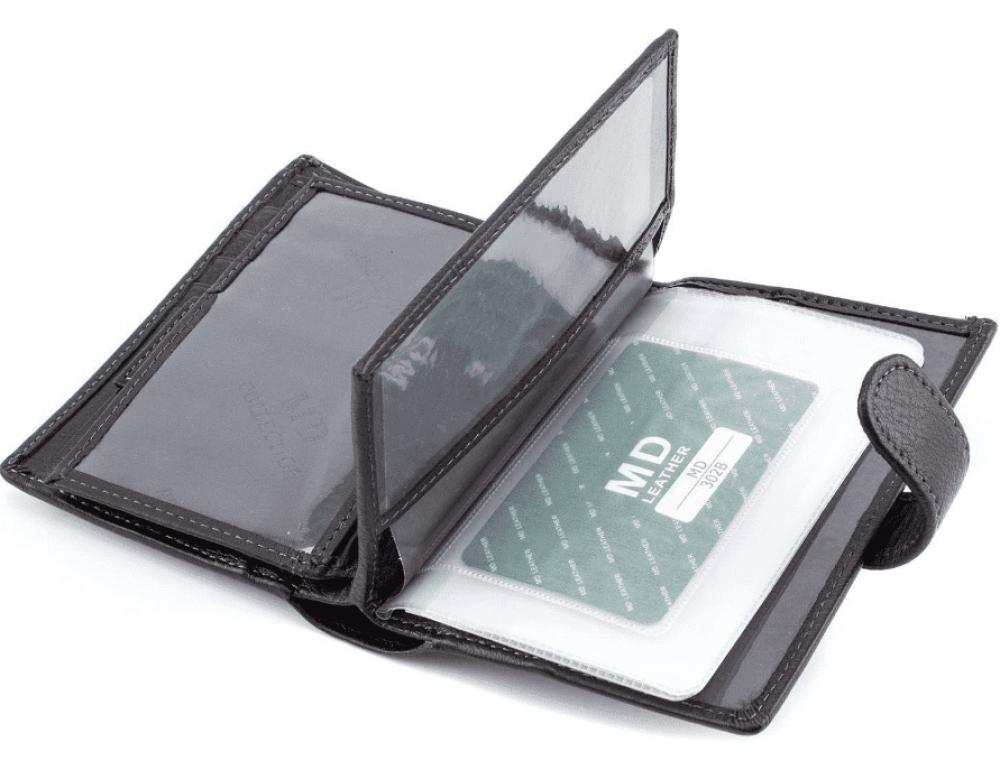 Чёрный кожаный портмоне под документы MD Leather 22-302b - Фото № 6