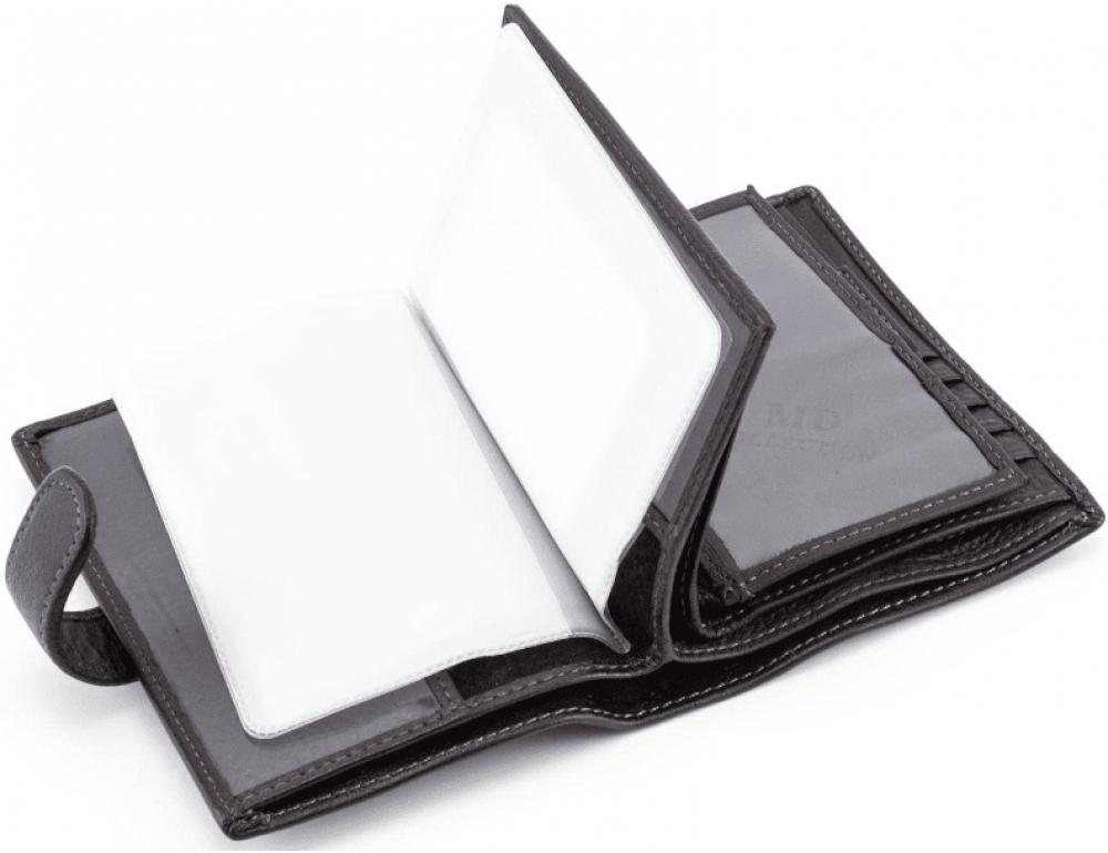 Чёрный кожаный портмоне под документы MD Leather 22-302b - Фото № 7