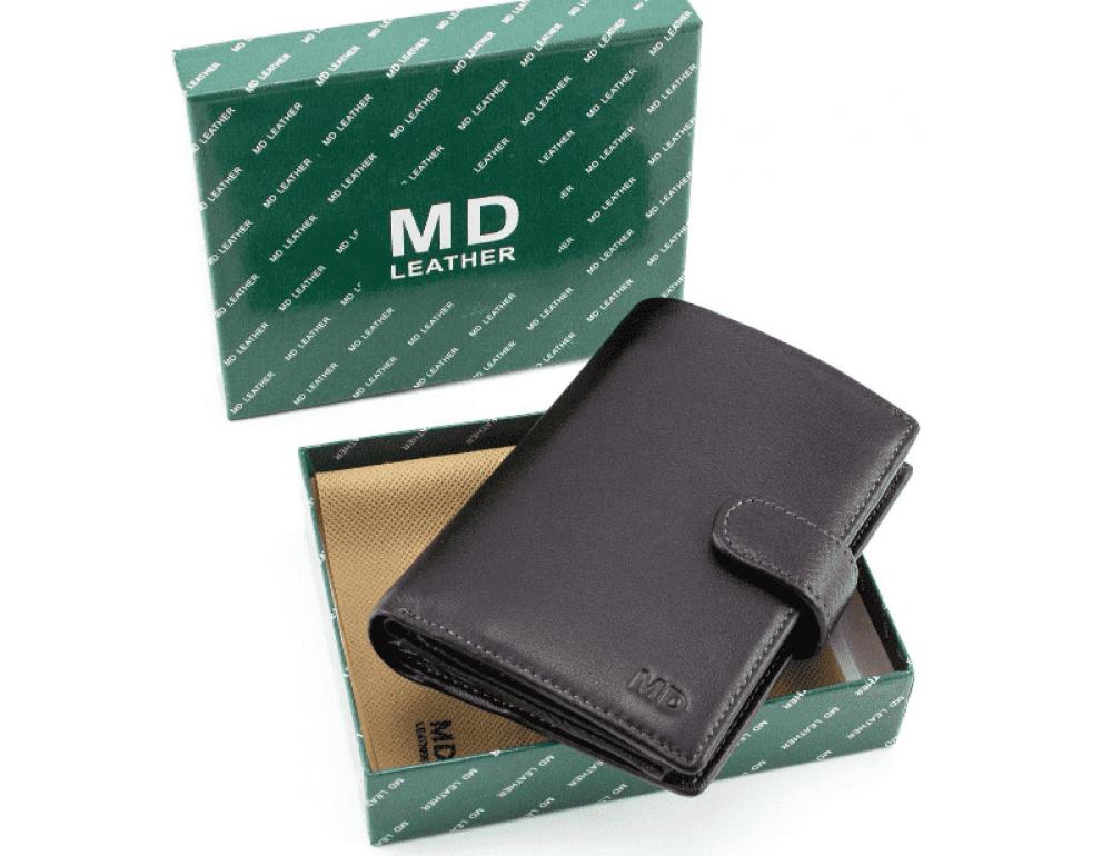 Чёрный кожаный портмоне под документы MD Leather 22-302b - Фото № 8