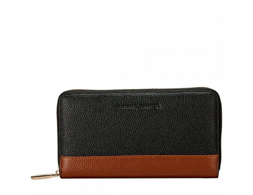 Чёрный женский кожаный кошелёк Smith & Canova 26800 BLK-TAN - Фото № 1