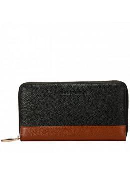 Чёрный женский кожаный кошелёк Smith & Canova 26800 BLK-TAN