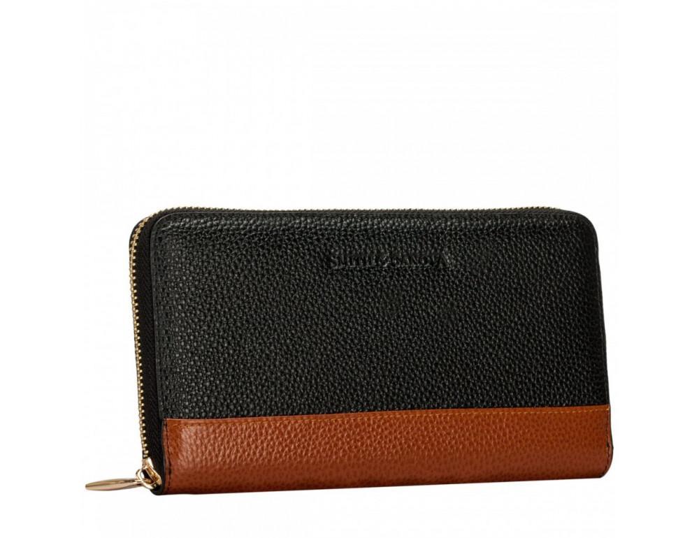 Чёрный женский кожаный кошелёк Smith & Canova 26800 BLK-TAN - Фото № 4