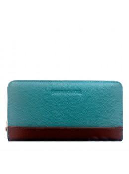 Бирюзовый кожаный кошелёк женский Smith & Canova 26800 BLUE-TAN