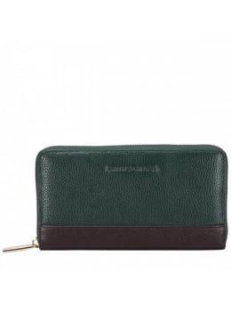 Зелёный кожаный кошелёк Smith & Canova 26800 GREEN-BRN