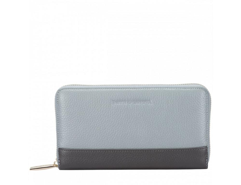 Серый кожаный кошелёк на молнии Smith & Canova 26800 GREY-DKGREY - Фото № 1