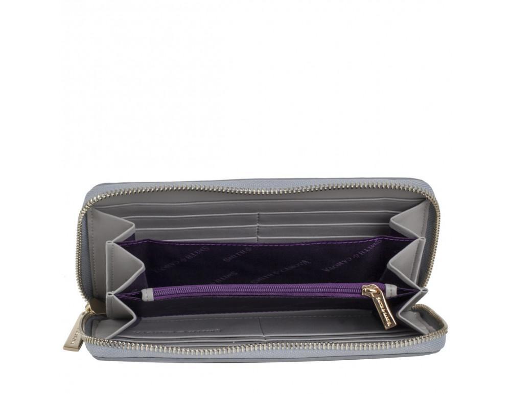Серый кожаный кошелёк на молнии Smith & Canova 26800 GREY-DKGREY - Фото № 2