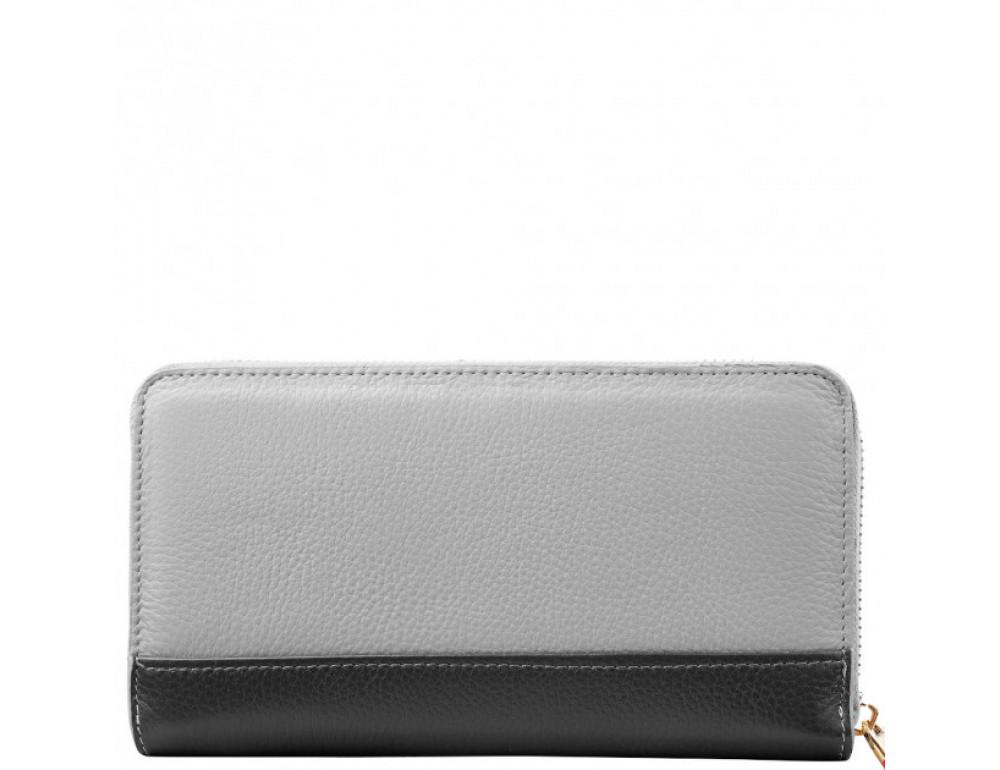 Серый кожаный кошелёк на молнии Smith & Canova 26800 GREY-DKGREY - Фото № 3