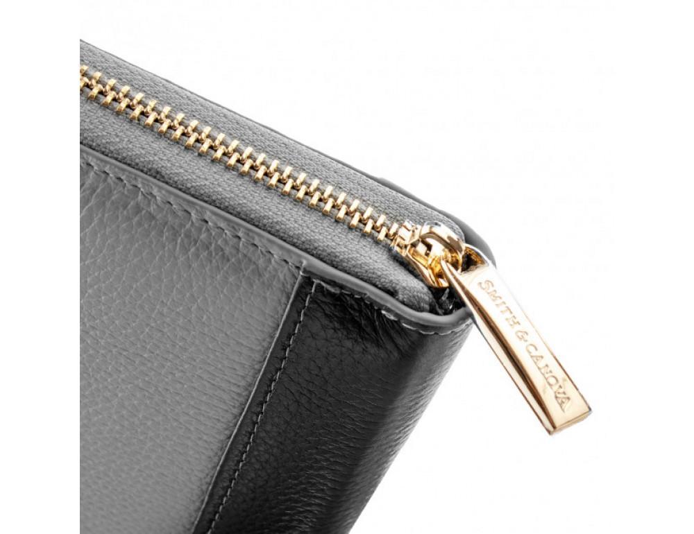 Серый кожаный кошелёк на молнии Smith & Canova 26800 GREY-DKGREY - Фото № 4