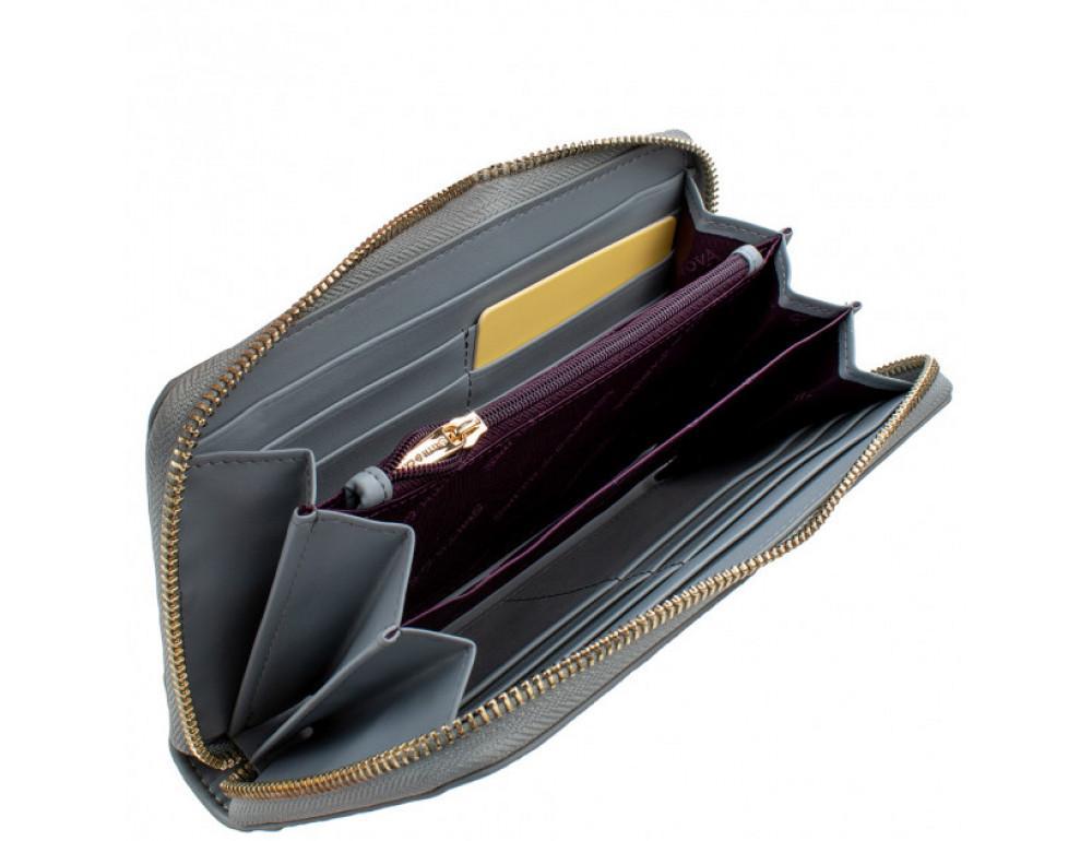 Серый кожаный кошелёк на молнии Smith & Canova 26800 GREY-DKGREY - Фото № 5