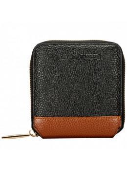 Маленький чёрный женский кошелёк Smith & Canova 26803 BLK-TAN Althorp