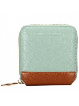 Маленький голубой кошелёк на молнии Smith & Canova 26803 BLUE-TAN Althorp