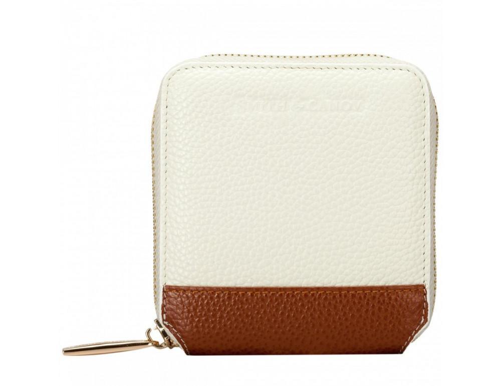 Кремовый маленький кошелёк на молнии Smith & Canova 26803 CREAM-TAN - Фото № 1