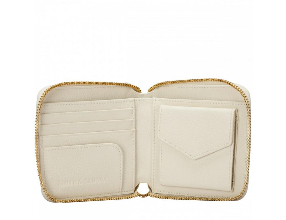 Кремовый маленький кошелёк на молнии Smith & Canova 26803 CREAM-TAN - Фото № 3