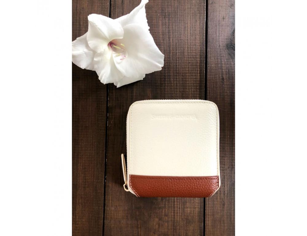 Кремовый маленький кошелёк на молнии Smith & Canova 26803 CREAM-TAN - Фото № 5