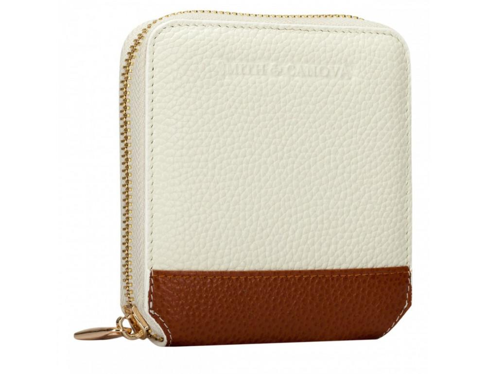 Кремовый маленький кошелёк на молнии Smith & Canova 26803 CREAM-TAN - Фото № 4