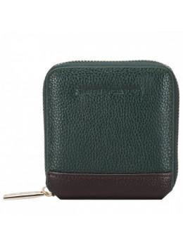 Маленький зелёный кошелёк на молнии Smith & Canova 26803 GREEN-BRN