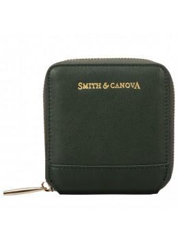 Зелёный кожаный кошелёк Smith & Canova 26812 DKGREEN Josephine