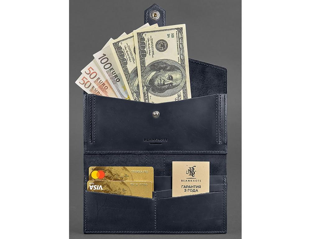 Синий кожаный кошелек Blanknote BN-PM-3-NN - Фото № 2