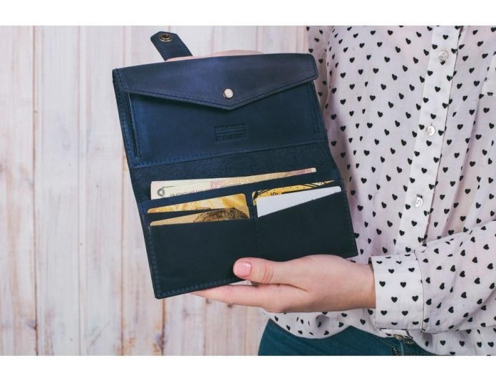 Синий кожаный кошелек Blanknote BN-PM-3-NN - Фото № 6