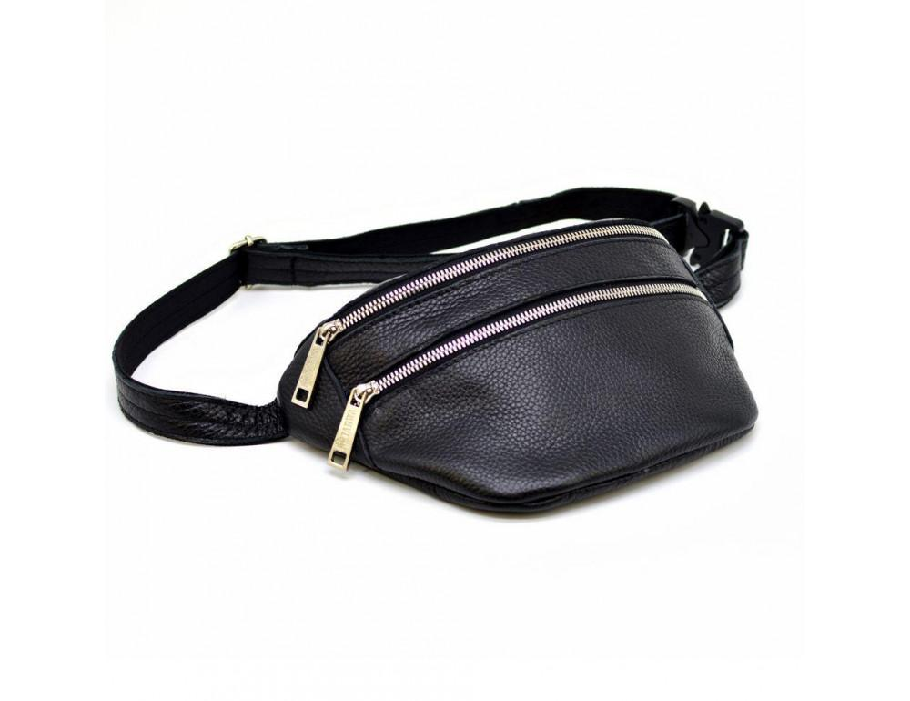 Чёрная напоясная сумка из кожи TARWA FA-3093-4lx - Фото № 4