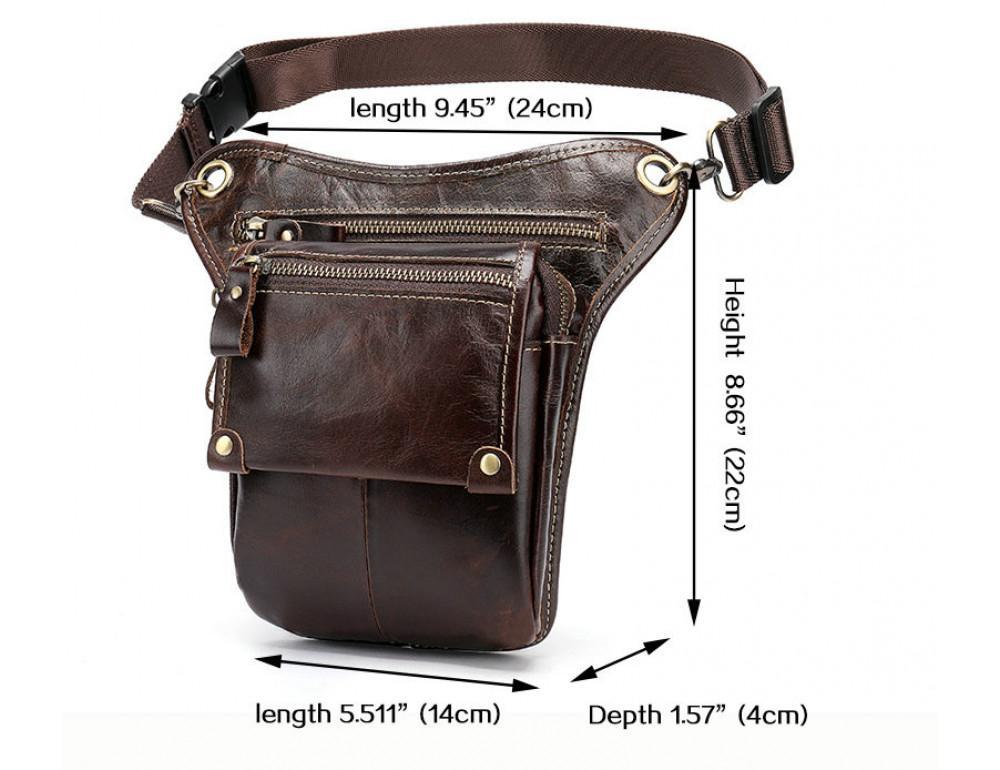 Коричневая сумка на ногу Tiding Bag 3237C - Фото № 3