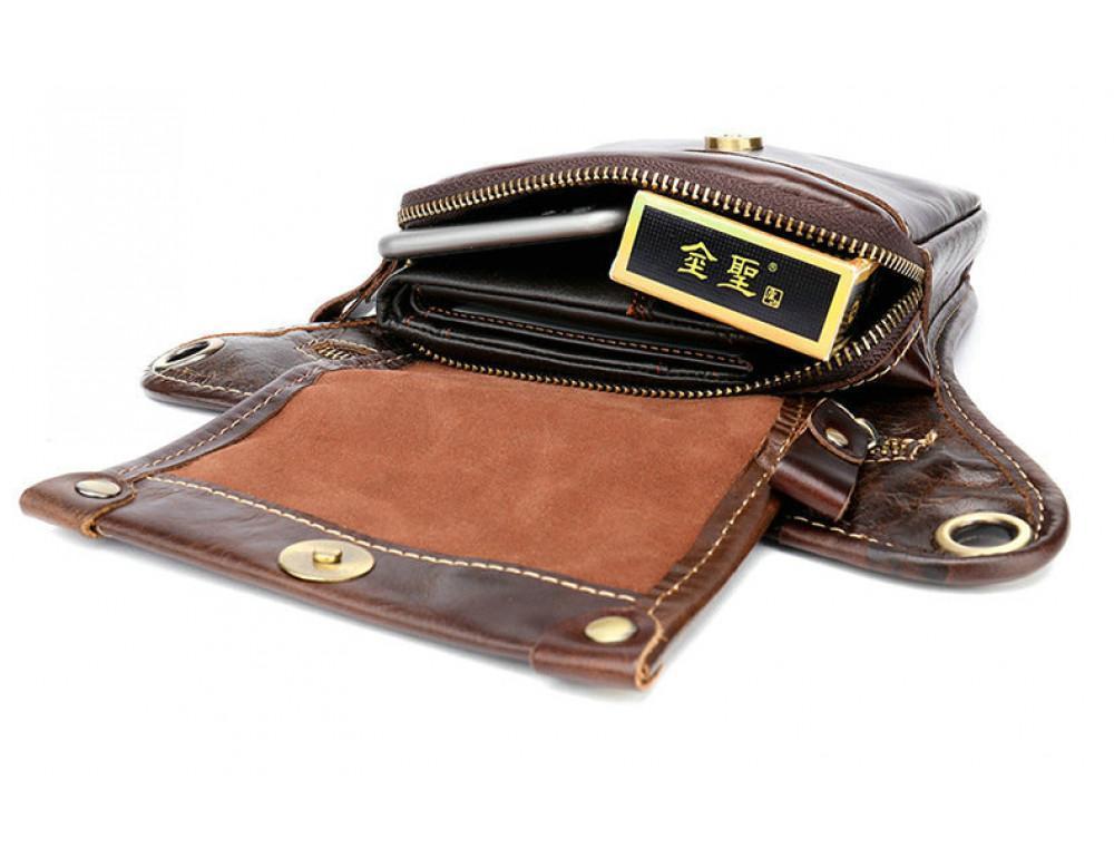 Коричневая сумка на ногу Tiding Bag 3237C - Фото № 9