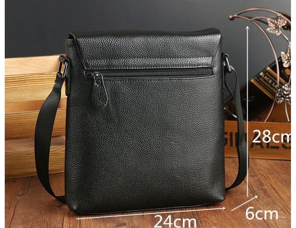 Чёрная мужская кожаная сумка через плечо TIDING BAG A25-1278A - Фото № 10
