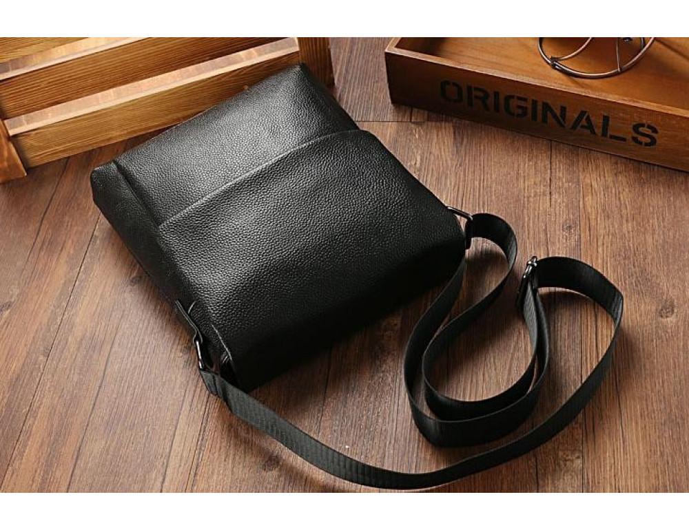 Чёрная мужская кожаная сумка через плечо TIDING BAG A25-1278A - Фото № 9