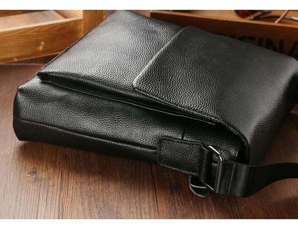 Чёрная мужская кожаная сумка через плечо TIDING BAG A25-1278A - Фото № 8
