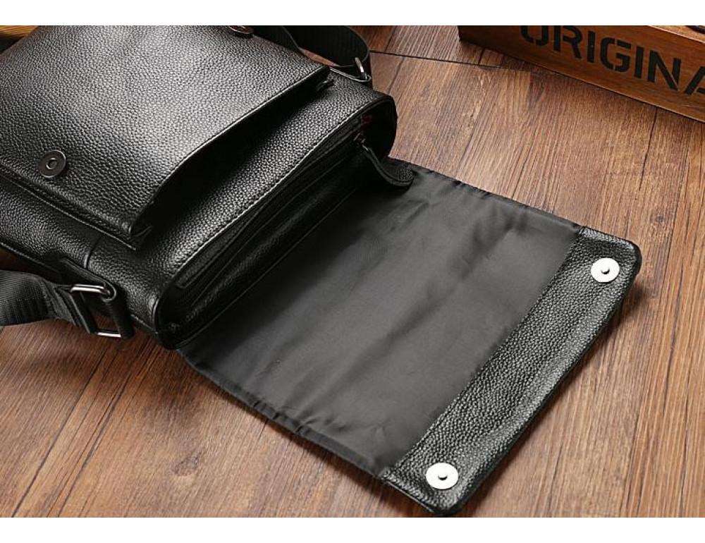 Чёрная мужская кожаная сумка через плечо TIDING BAG A25-1278A - Фото № 7
