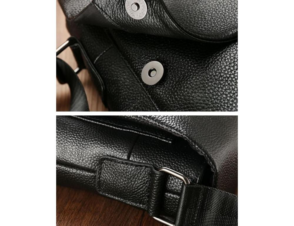 Чёрная мужская кожаная сумка через плечо TIDING BAG A25-1278A - Фото № 6