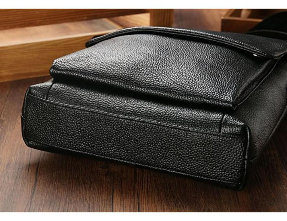 Чёрная мужская кожаная сумка через плечо TIDING BAG A25-1278A - Фото № 5