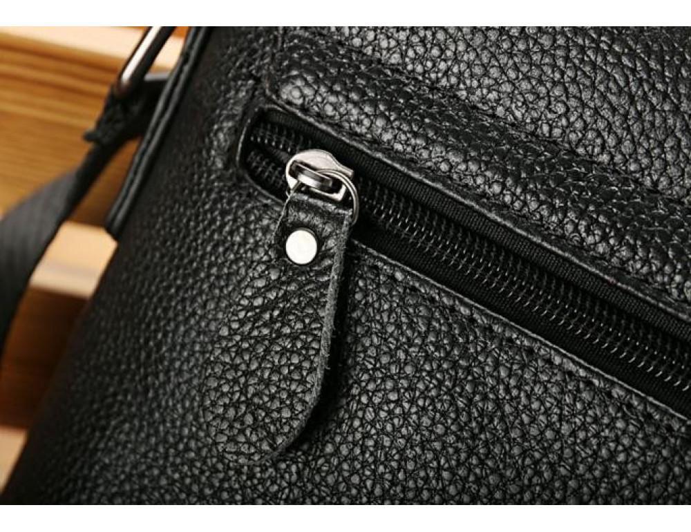 Чёрная мужская кожаная сумка через плечо TIDING BAG A25-1278A - Фото № 4