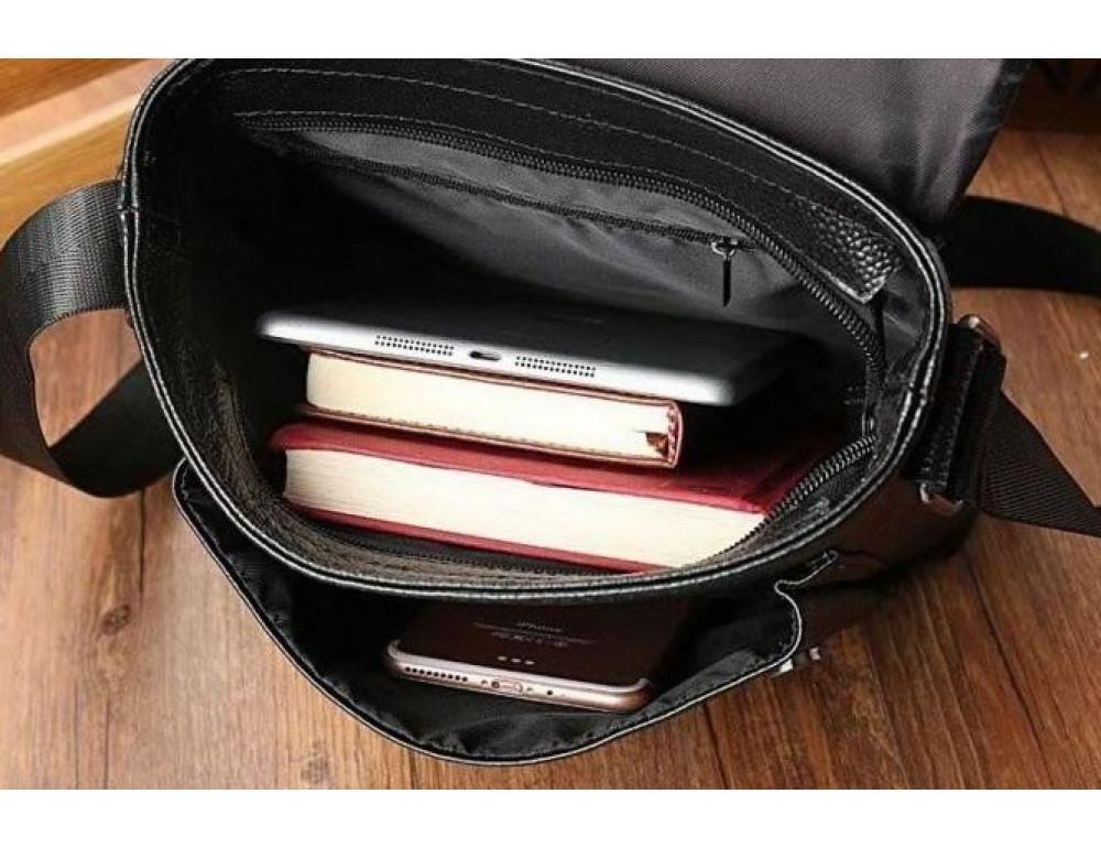 Чёрная мужская кожаная сумка через плечо TIDING BAG A25-1278A - Фото № 3