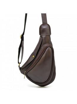 Коричневий шкіряний рюкзак на одне плече чоловічий Tarwa GC-3026-3md