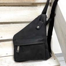 Чёрная винтажная сумка-слинг из лошадиной кожи TARWA RA-6501-3md