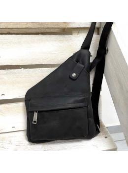 Чорна вінтажна сумка-слінг з кінської шкіри TARWA RA-6501-3md