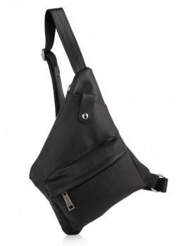 Чорна шкіряна сумка-слінг в фактурної шкірі TARWA FA-6501-3md