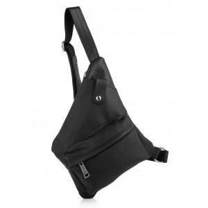 Чёрная кожаная сумка-слинг в фактурной коже TARWA FA-6501-3md