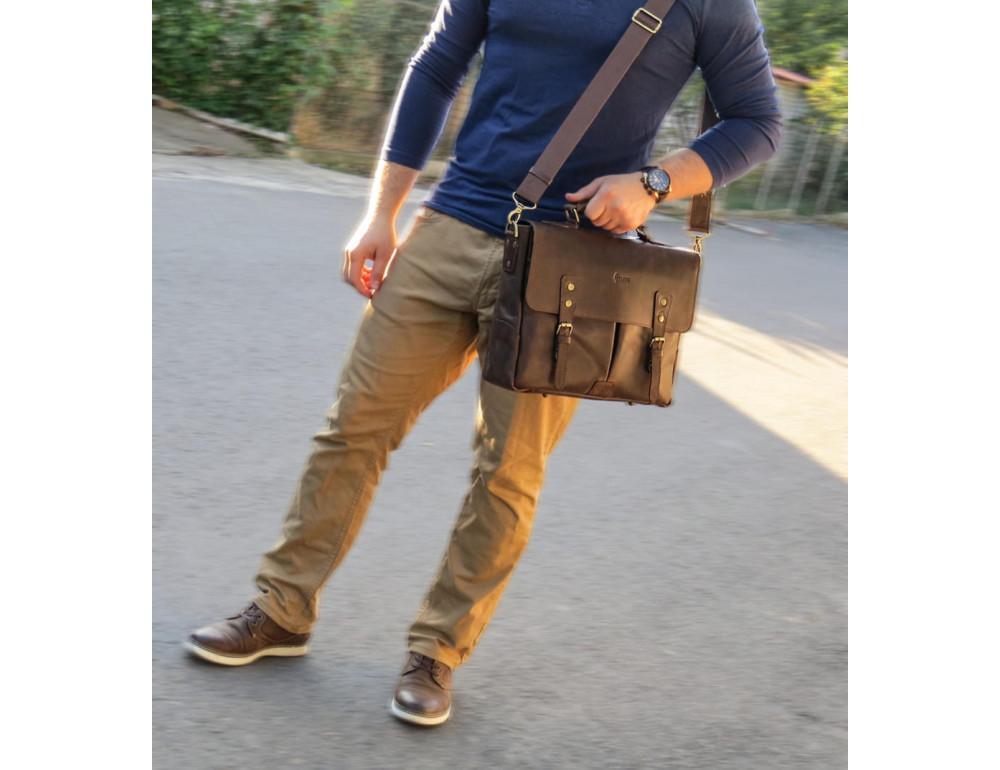 Коричневый мужской портфель TARWA RС-3960-4lx   - Фото № 2