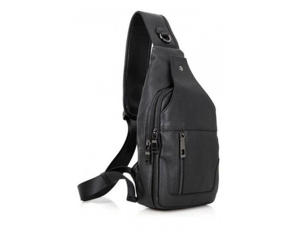 Чёрная мужская сумка-мессенджер из кожи TIDING BAG 4004A