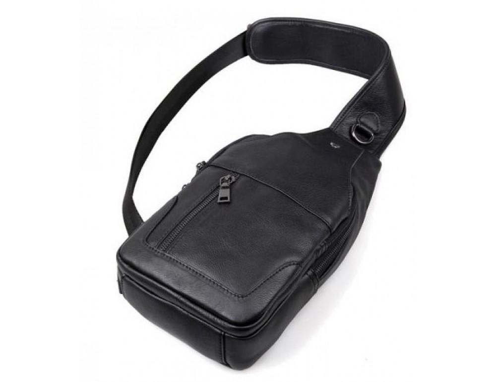 Чёрная мужская сумка-мессенджер из кожи TIDING BAG 4004A - Фото № 4
