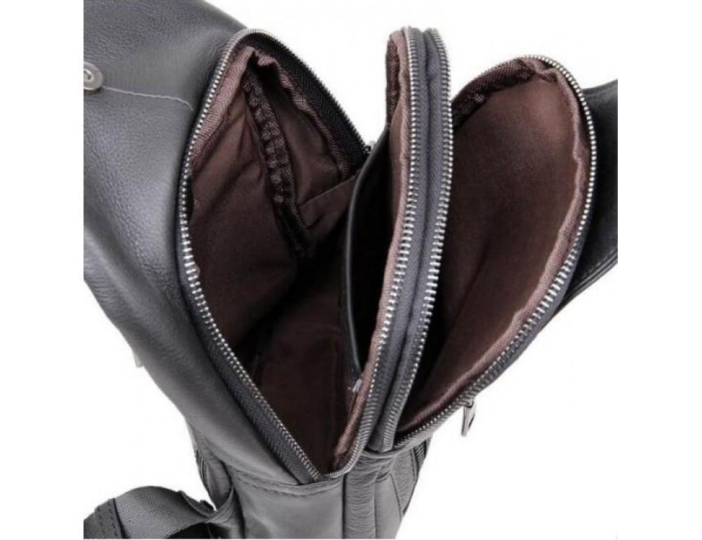 Чёрная мужская сумка-мессенджер из кожи TIDING BAG 4004A - Фото № 8