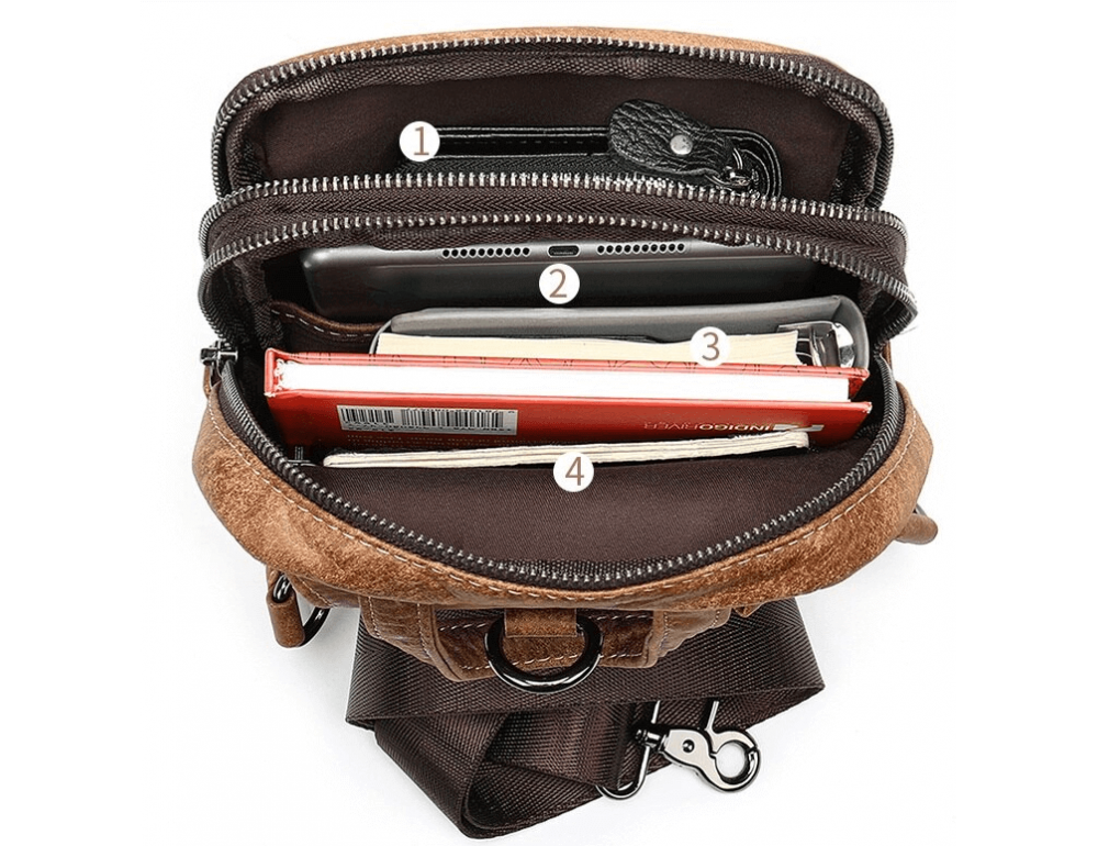 Светло-коричневая сумка через плечо Tiding Bag 4006С - Фото № 2