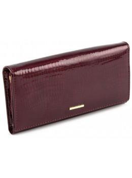 Бордовый кожаный кошелёк на магните из лаковой кожи Marco Coverna 403-1010-4
