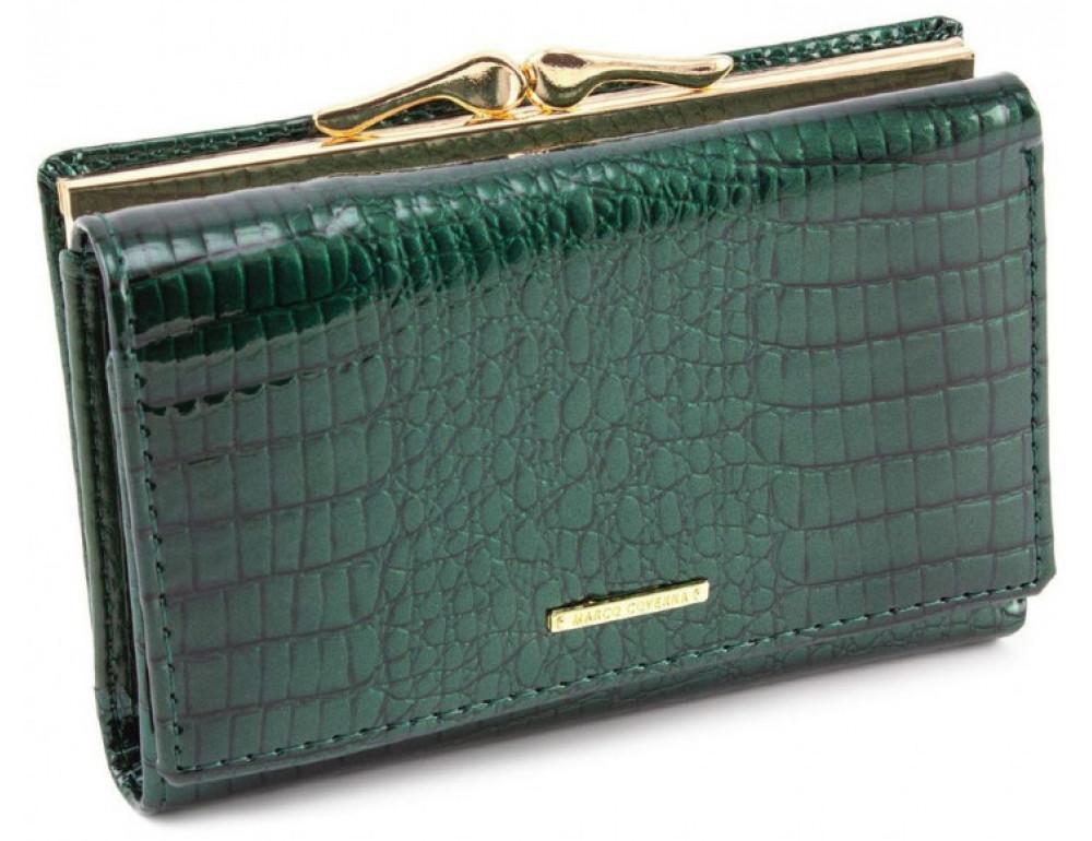 Зелёный лаковый кошелёк Marco Coverna 403-2490-7 - Фото № 1
